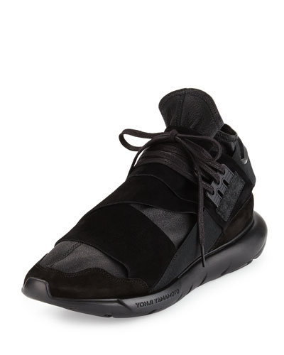 Qasa Men's High-Top Leather Trainer Sneaker, Black