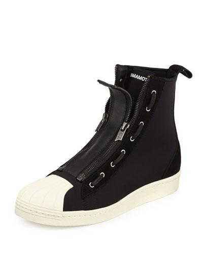 Pro Men's Zip-Front High-Top Sneaker, Black/White