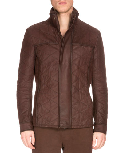 Diamond-Quilted Washed Leather Jacket, Buffaloes