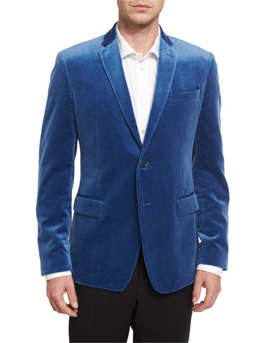 Velvet Two-Button Jacket, Blue