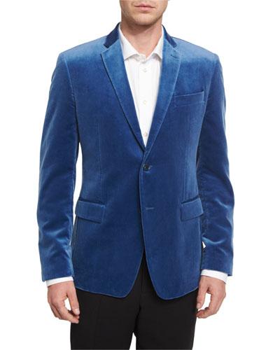 Velvet Two-Button Jacket, Blue