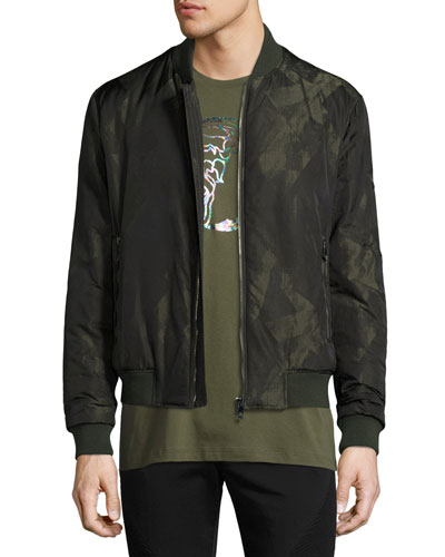Abstract-Print Bomber Jacket, Army Green