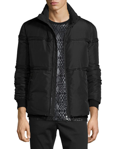 Rope-Trim Zip Puffer Jacket, Black