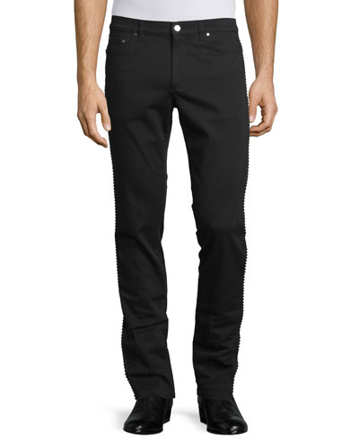 Rope-Trim Straight-Leg Denim Jeans, Black