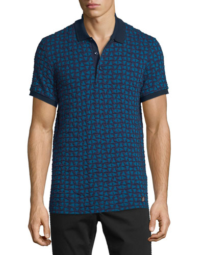 Textured Triangle-Stamped Short-Sleeve Polo Shirt, Blue