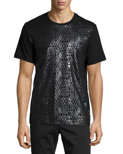 Shiny Tonal-Print Short-Sleeve Crewneck T-Shirt, Black