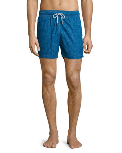 Double Chicane-Print Retro Swim Trunks, Blue