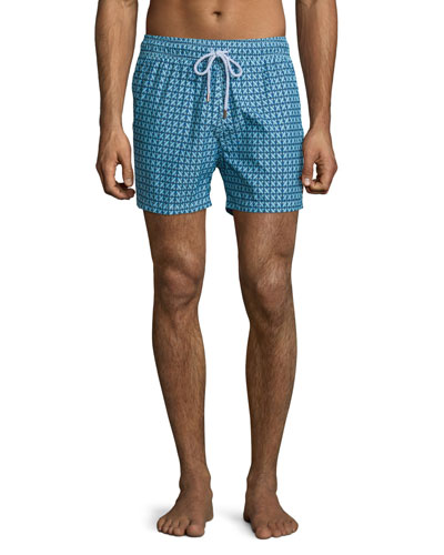Intertwined-Print Retro Swim Trunks, Blue