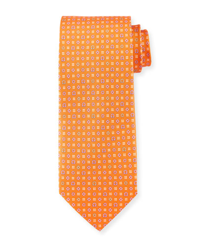 Neat Gancini-Print Silk Tie, Orange