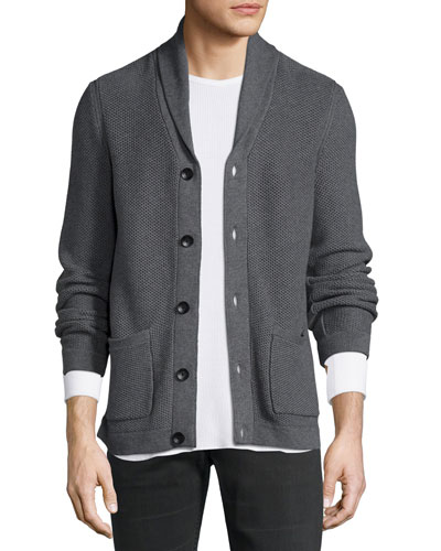 Standard Issue Avery Shawl-Collar Knit Cardigan, Charcoal