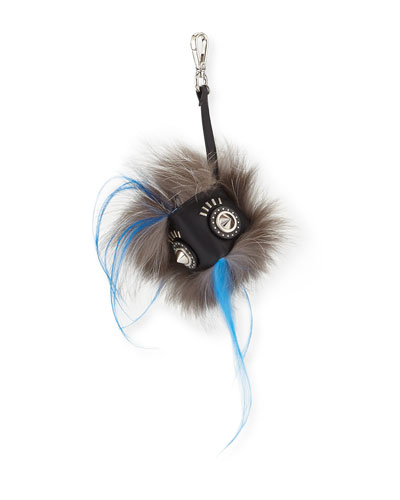 Fur Face Charm for Bag/Briefcase, Black/White