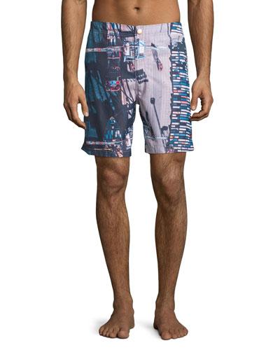 Stockyard-Print Retro Swim Trunks, Multi