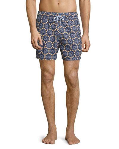 Hexagon-Print Retro Swim Trunks, Navy