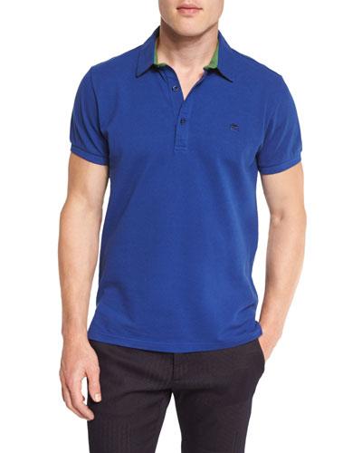 Paisley-Trim Short-Sleeve Polo Shirt, Blue