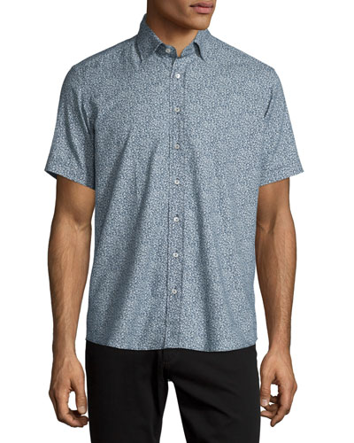Paisley-Print Short-Sleeve Sport Shirt, Navy/White