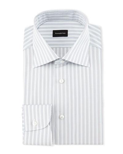 Track-Stripe Woven Dress Shirt, White