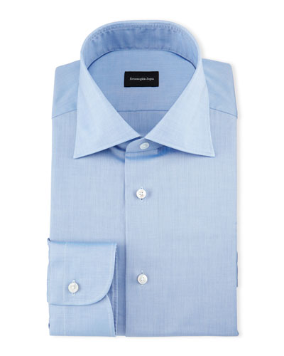 Solid Cotton Dress Shirt, Chambray