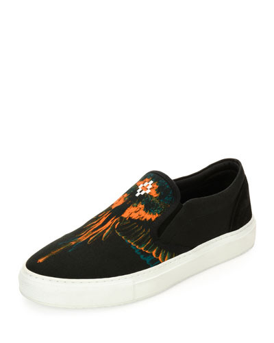 Cerro Blanco Leather Slip-On Sneaker, Black/Orange