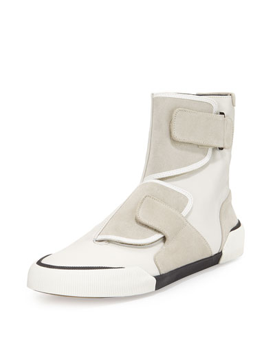 Leather-Suede Strappy High-Top Sneaker, Light Gray