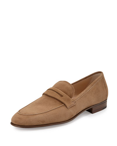 Suede Penny Loafer, Taupe