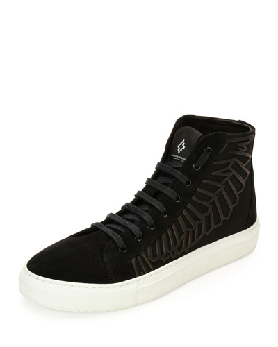 Maipu Textured High-Top Sneaker, Black/White