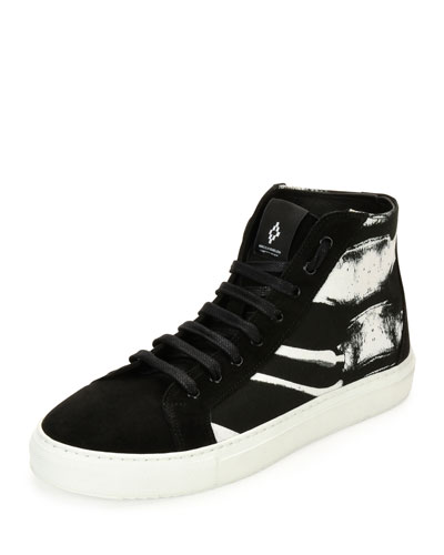 Skeleton-Graphic High-Top Sneaker, Black