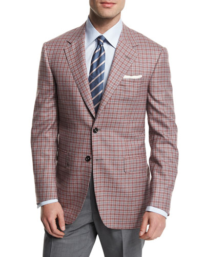 Check Two-Button Wool Sport Coat, Red/Gray