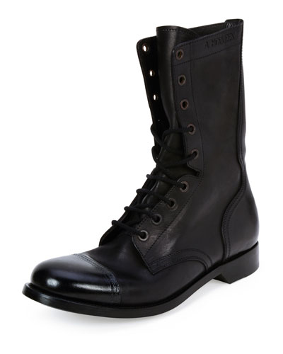 Cap-Toe Leather Combat Boot, Black