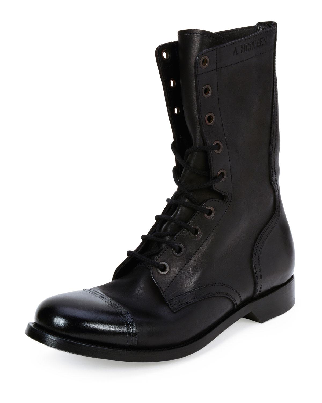 Cap-Toe Leather Combat Boot, Black