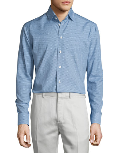 Golf-Club Print Long-Sleeve Sport Shirt, Blue