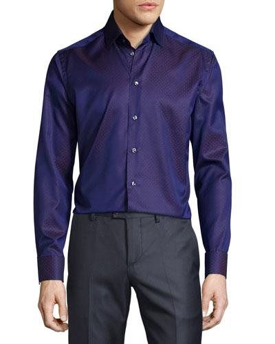 Dot-Print Long-Sleeve Sport Shirt, Dark Purple