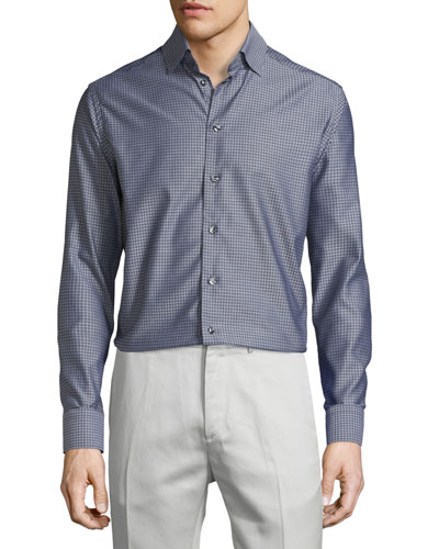 Mini-Houndstooth Long-Sleeve Sport Shirt, Gray