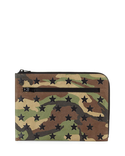 Men's Camo Pouch Bag w/Star Appliqués, Green