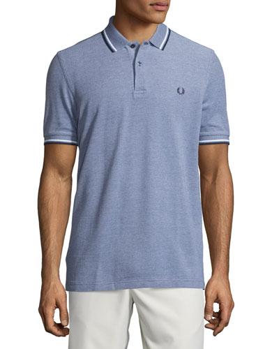 Contrast-Tipped Pique Polo Shirt, Gray