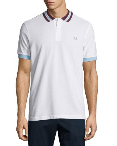 Contrast-Trim Polo Shirt, White