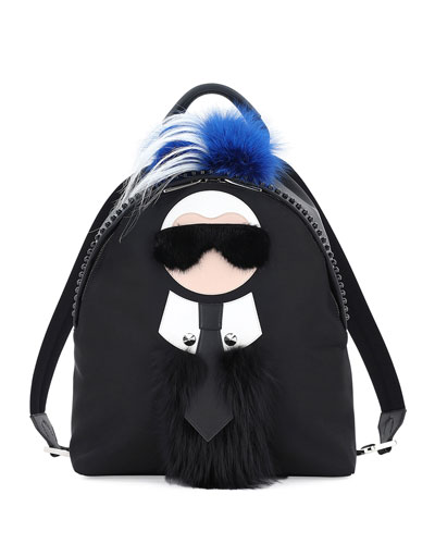Karlito Fur Mohawk Backpack, Black