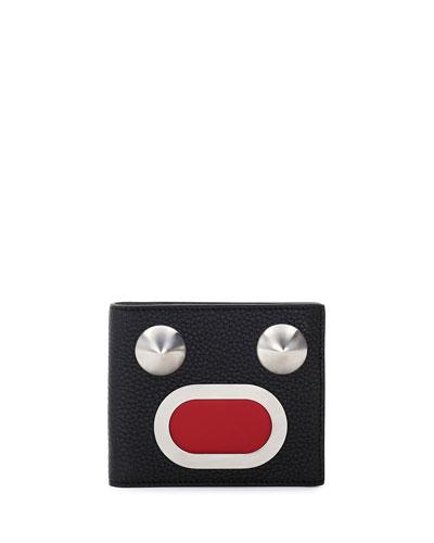 Leather & Metal Face Bi-Fold Wallet, Black