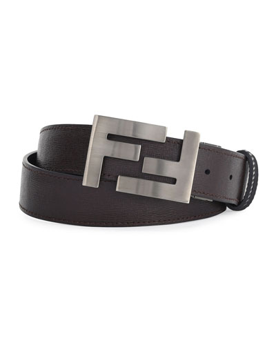 Double-F Buckle Textured Leather Belt, Brown/Black