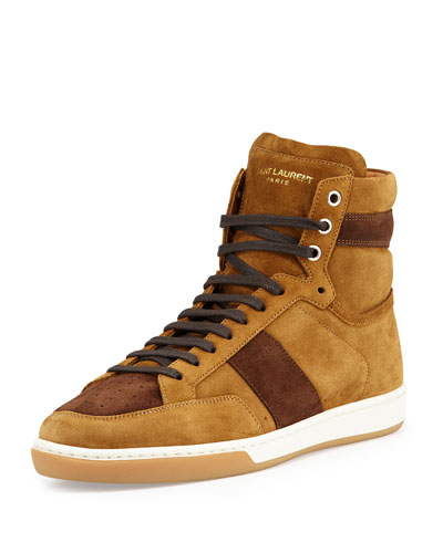 Colorblock Suede High-Top Sneaker, Tan/Coffee