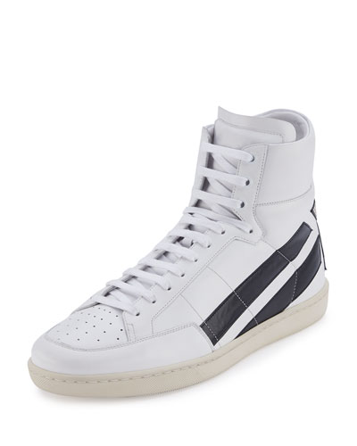 Contrast-Stripe Leather High-Top Sneaker, White/Black