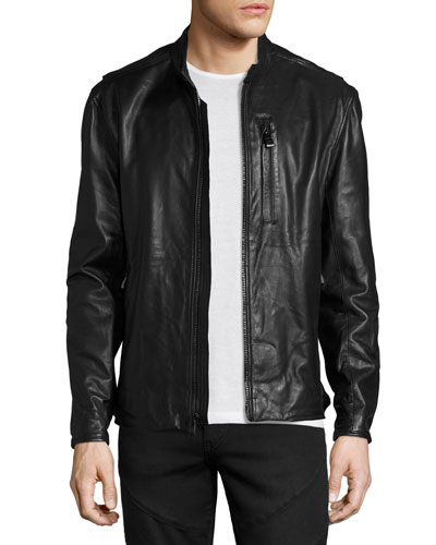 Mackinley Leather Moto Jacket, Jet Black
