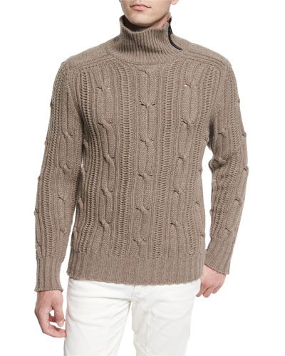 Easterton Cable-Knit Turtleneck Sweater, Bark
