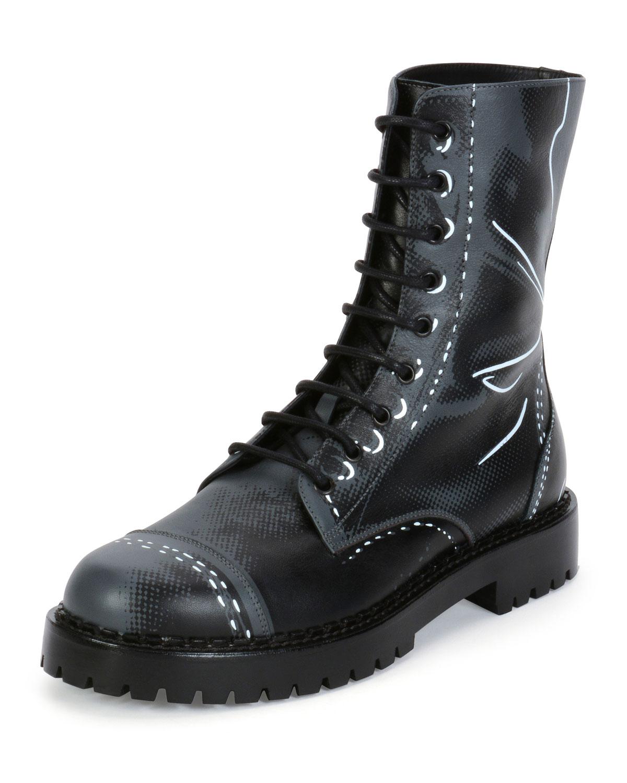 Trompe L'oeil Leather Combat Boot, Grey