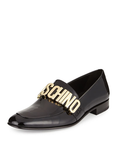 Patent Leather Loafer w/Logo Lettering, Black