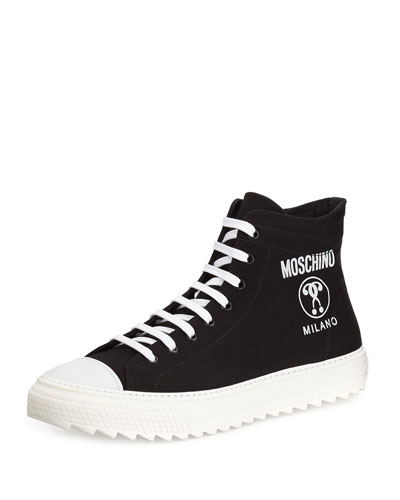 Double Question Mark High-Top Sneaker, Black