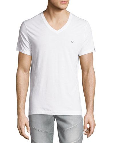 V-Neck Short-Sleeve Logo Tee, Optic White