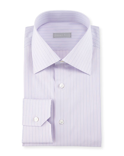 Thin-Striped Woven Dress Shirt, Purple