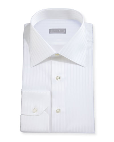 Tonal-Striped Woven Dress Shirt, White