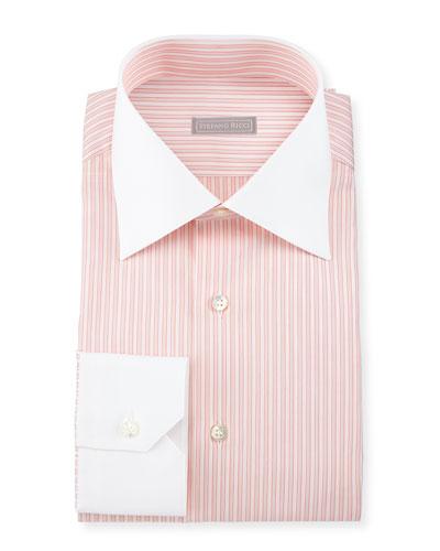 Contrast-Collar Striped Dress Shirt, Orange