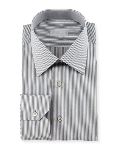 Fancy-Striped Dress Shirt, Black